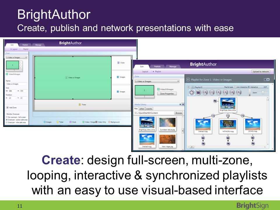 11 Create: design full-screen, multi-zone, looping, interactive & synchronized playlists with an easy to use visual-based interface BrightAuthor Creat