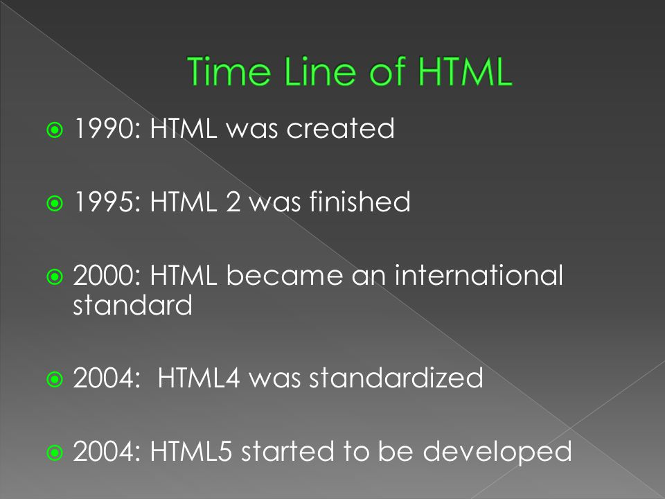  1990: HTML was created  1995: HTML 2 was finished  2000: HTML became an international standard  2004: HTML4 was standardized  2004: HTML5 started to be developed