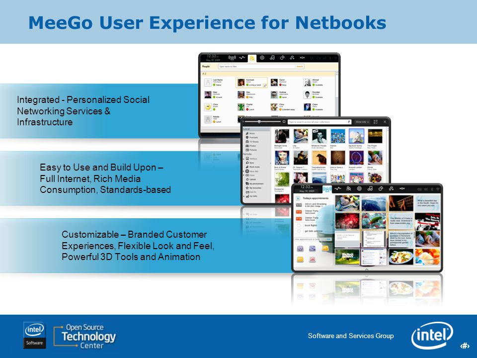 10 Software and Services Group 10 Intel Confidential 10 MeeGo User Experience for Netbooks Customizable – Branded Customer Experiences, Flexible Look