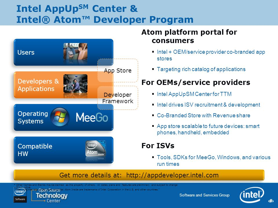 17 Software and Services Group 17 Intel Confidential Users Developers & Applications Compatible HW Operating Systems Atom platform portal for consumer