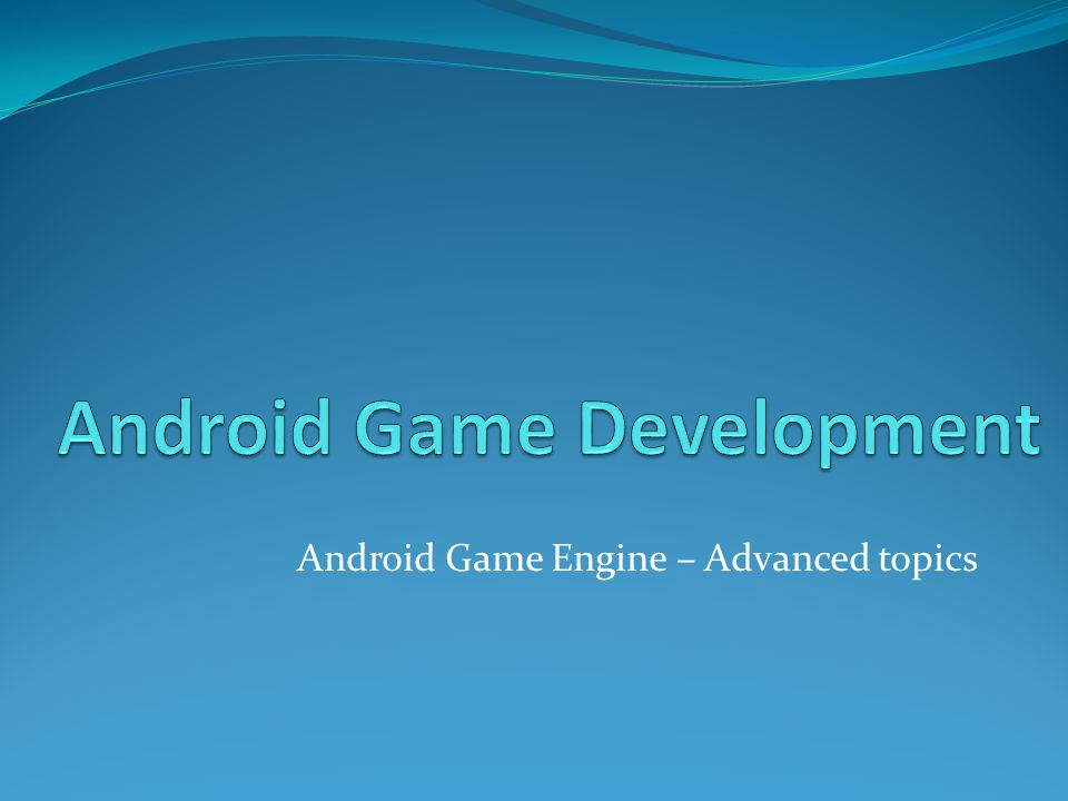 Base project Download our base project and open it in NetBeans cg.iit.bme.hu/gamedev/KIC/11_AndroidDevelopment/11 _05_Android_AnimationScripts_Base.zip Change the android sdk location path Per-user properties (local.properties) sdk.dir=change path here Start an emulator Build Run