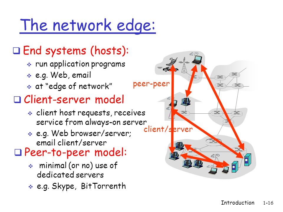 Introduction1-16 The network edge:  End systems (hosts):  run application programs  e.g.