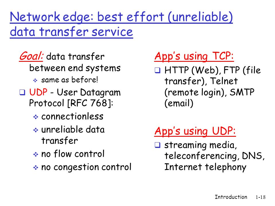 Introduction1-18 Network edge: best effort (unreliable) data transfer service Goal: data transfer between end systems  same as before.