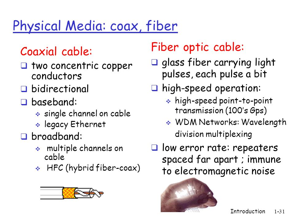 Introduction1-31 Physical Media: coax, fiber Coaxial cable:  two concentric copper conductors  bidirectional  baseband:  single channel on cable  legacy Ethernet  broadband:  multiple channels on cable  HFC (hybrid fiber-coax) Fiber optic cable:  glass fiber carrying light pulses, each pulse a bit  high-speed operation:  high-speed point-to-point transmission (100's Gps)  WDM Networks: Wavelength division multiplexing  low error rate: repeaters spaced far apart ; immune to electromagnetic noise