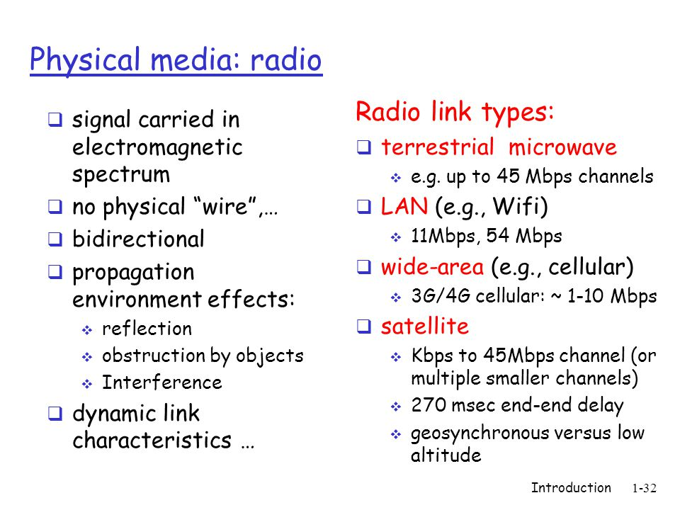 Introduction1-32 Physical media: radio  signal carried in electromagnetic spectrum  no physical wire ,…  bidirectional  propagation environment effects:  reflection  obstruction by objects  Interference  dynamic link characteristics … Radio link types:  terrestrial microwave  e.g.