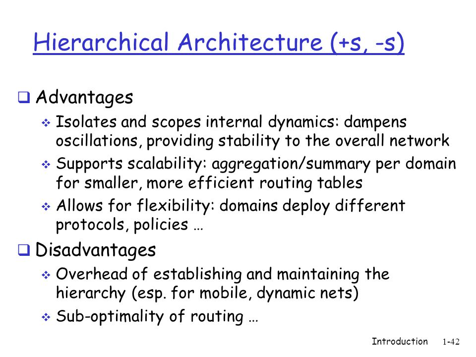 Hierarchical Architecture (+s, -s)  Advantages  Isolates and scopes internal dynamics: dampens oscillations, providing stability to the overall network  Supports scalability: aggregation/summary per domain for smaller, more efficient routing tables  Allows for flexibility: domains deploy different protocols, policies …  Disadvantages  Overhead of establishing and maintaining the hierarchy (esp.