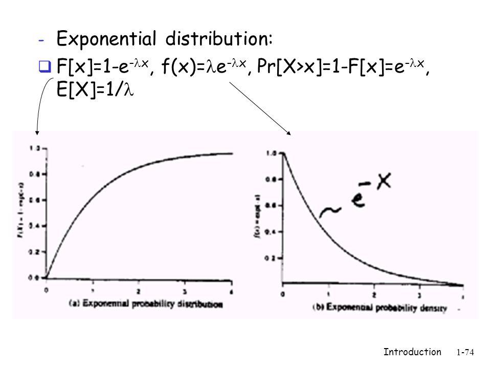 Introduction1-74 - Exponential distribution:  F[x]=1-e - x, f(x)= e - x, Pr[X>x]=1-F[x]=e - x, E[X]=1/