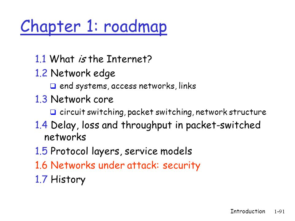 Introduction1-91 Chapter 1: roadmap 1.1 What is the Internet.