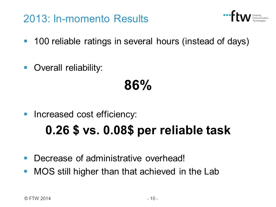 - 10 -© FTW 2014 2013: In-momento Results  100 reliable ratings in several hours (instead of days)  Overall reliability: 86%  Increased cost effici