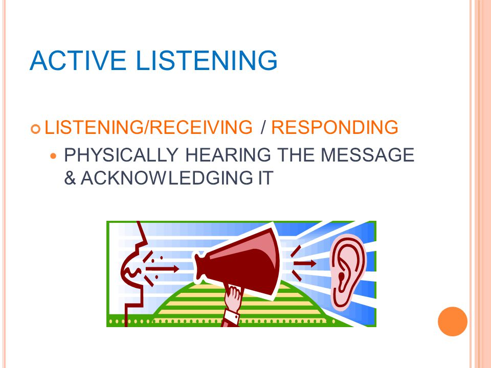 ACTIVE LISTENING LISTENING/RECEIVING / RESPONDING PHYSICALLY HEARING THE MESSAGE & ACKNOWLEDGING IT