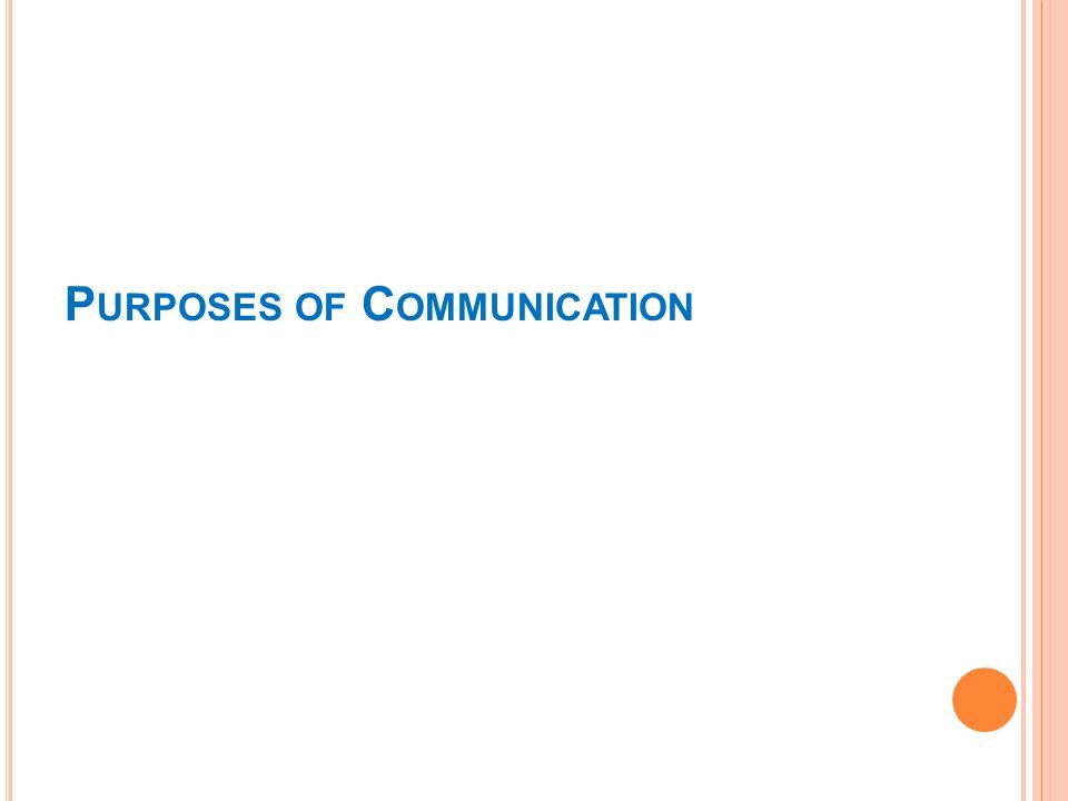P URPOSES OF C OMMUNICATION