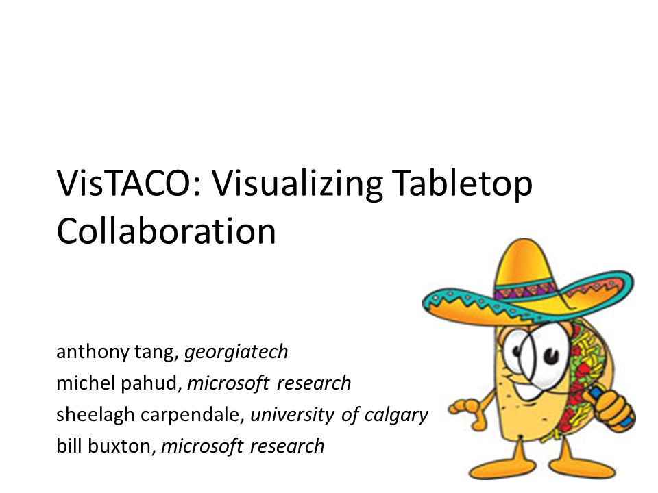 VisTACO: Visualizing Tabletop Collaboration anthony tang, georgiatech michel pahud, microsoft research sheelagh carpendale, university of calgary bill buxton, microsoft research