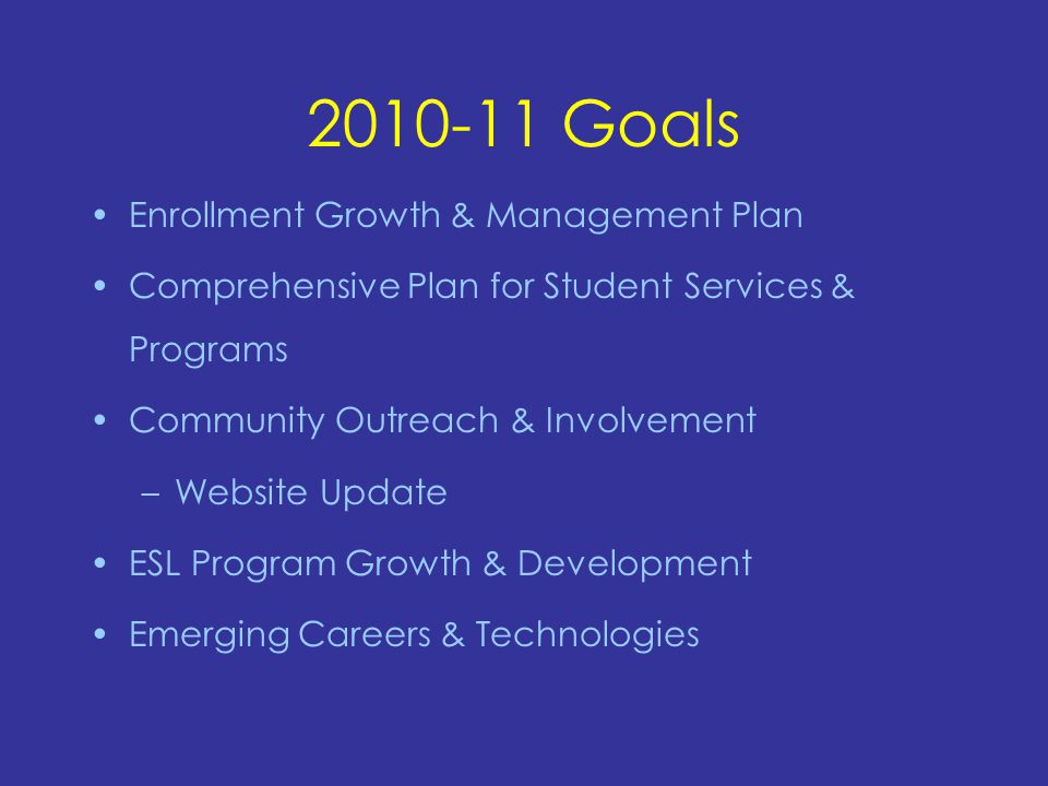 2010-11 Goals Enrollment Growth & Management Plan Comprehensive Plan for Student Services & Programs Community Outreach & Involvement –Website Update ESL Program Growth & Development Emerging Careers & Technologies