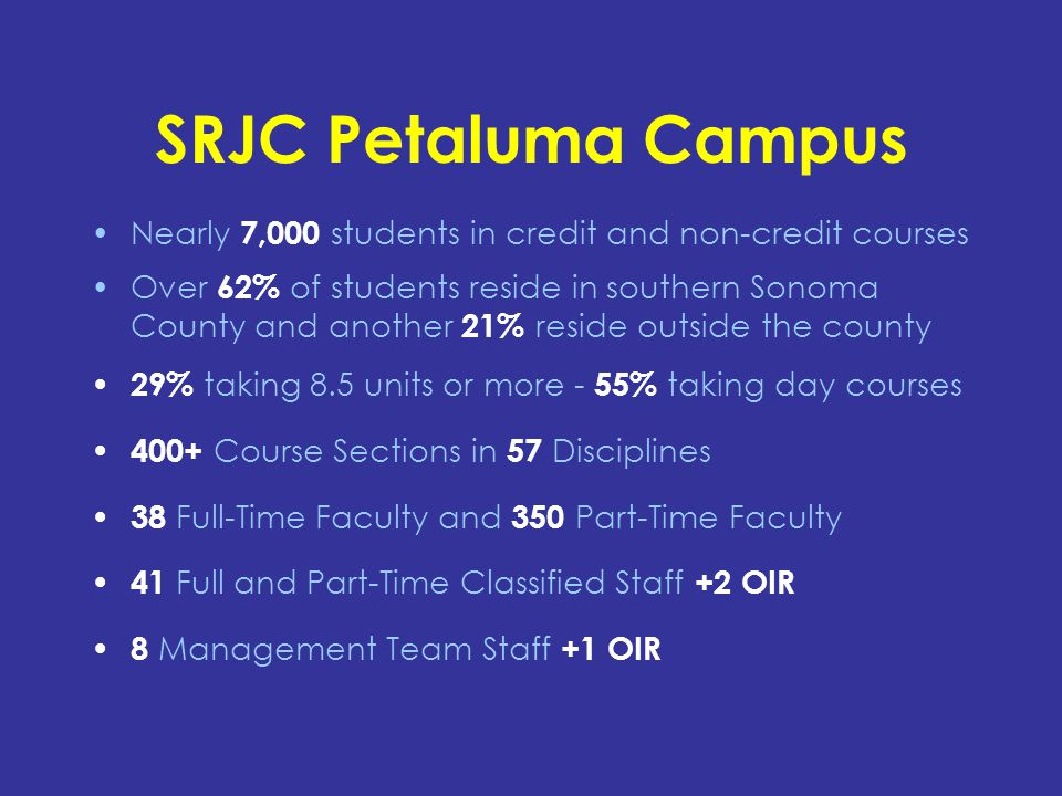 SRJC Petaluma Campus Nearly 7,000 students in credit and non-credit courses Over 62% of students reside in southern Sonoma County and another 21% reside outside the county 29% taking 8.5 units or more - 55% taking day courses 400+ Course Sections in 57 Disciplines 38 Full-Time Faculty and 350 Part-Time Faculty 41 Full and Part-Time Classified Staff +2 OIR 8 Management Team Staff +1 OIR
