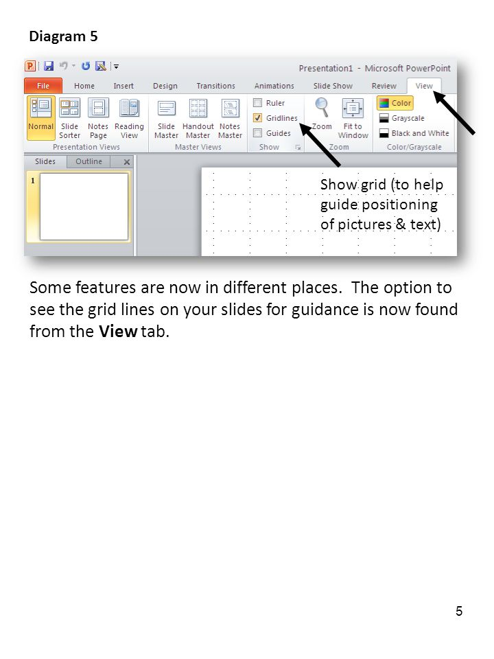 Show grid (to help guide positioning of pictures & text) Some features are now in different places.