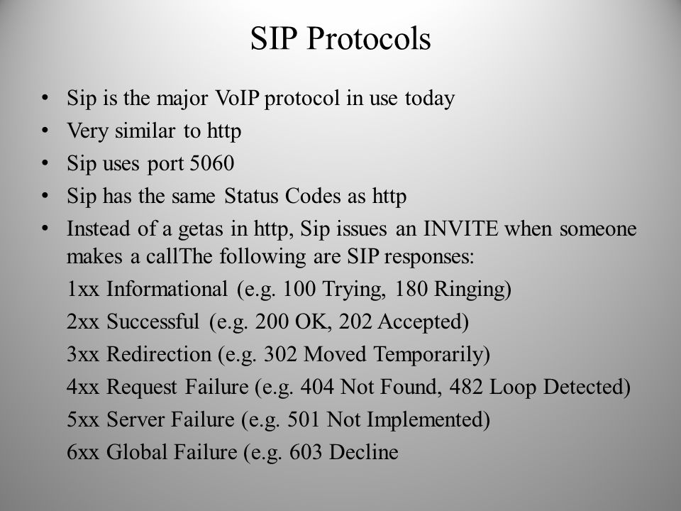 SIP Protocols Sip is the major VoIP protocol in use today Very similar to http Sip uses port 5060 Sip has the same Status Codes as http Instead of a g