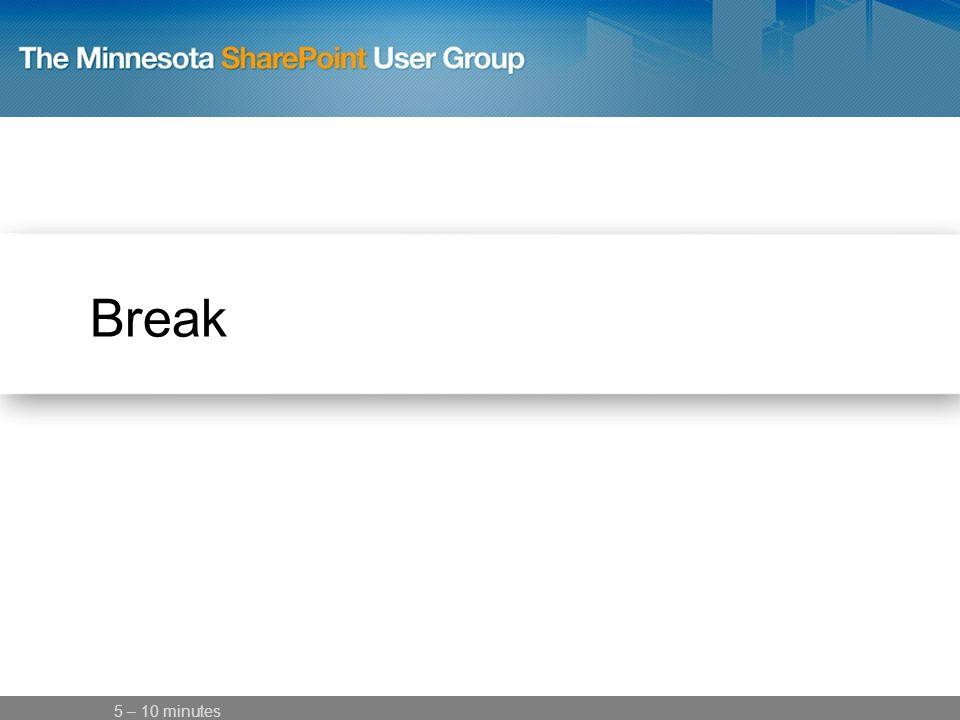 Break 5 – 10 minutes