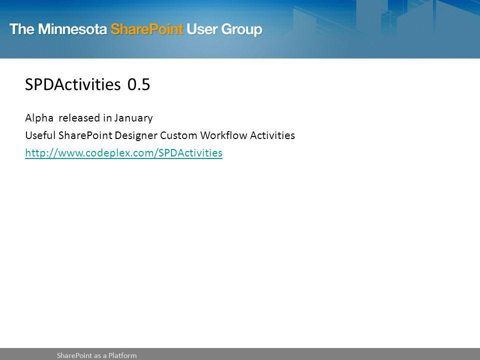 SPDActivities 0.5 Alpha released in January Useful SharePoint Designer Custom Workflow Activities http://www.codeplex.com/SPDActivities SharePoint as a Platform