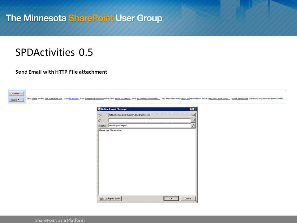 SPDActivities 0.5 Send Email with HTTP File attachment SharePoint as a Platform