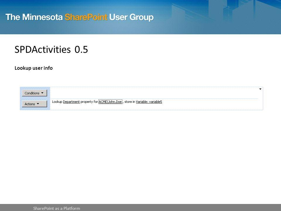 SPDActivities 0.5 Lookup user info SharePoint as a Platform