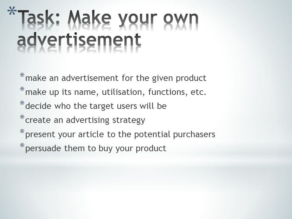 * make an advertisement for the given product * make up its name, utilisation, functions, etc.