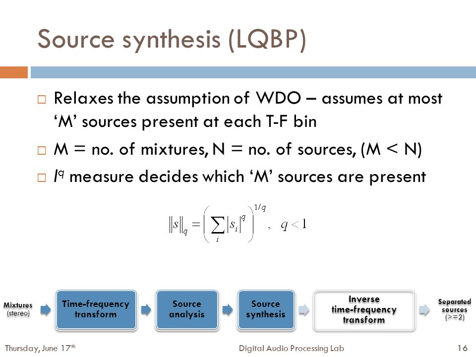 16Digital Audio Processing LabThursday, June 17 th 16Digital Audio Processing LabThursday, June 17 th Source synthesis (LQBP)  Relaxes the assumption of WDO – assumes at most 'M' sources present at each T-F bin  M = no.