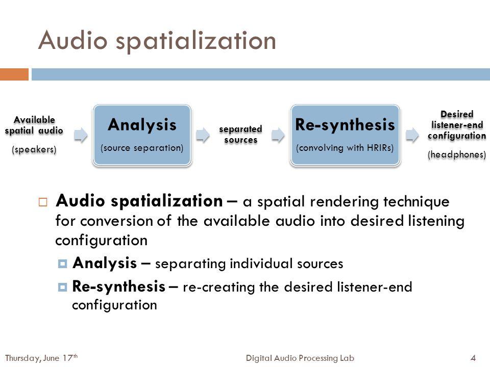 25Digital Audio Processing LabThursday, June 17 th 25Digital Audio Processing LabThursday, June 17 th WDO and sparsity  WDO vs.