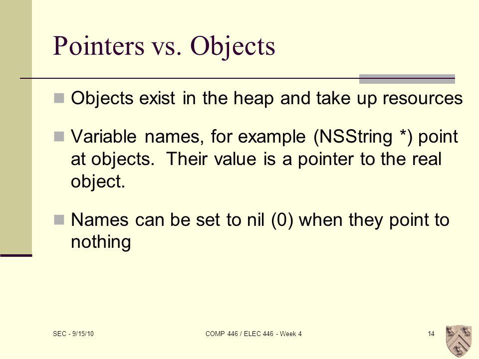 Pointers vs.