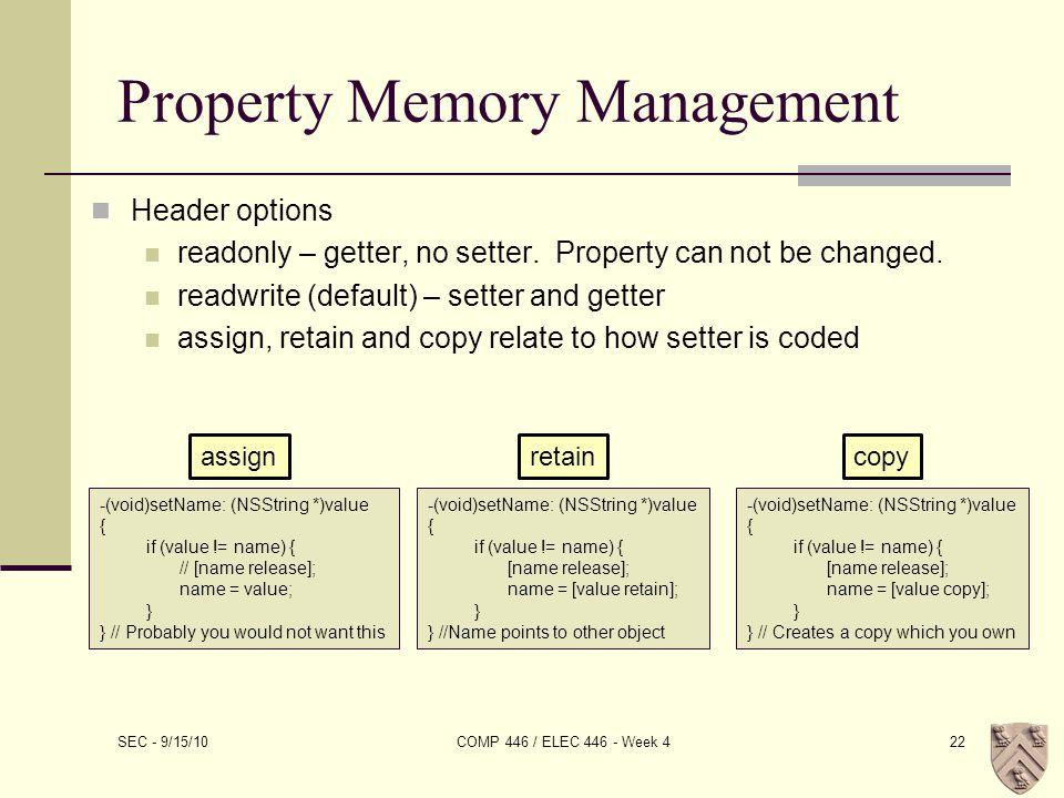 Property Memory Management Header options readonly – getter, no setter.