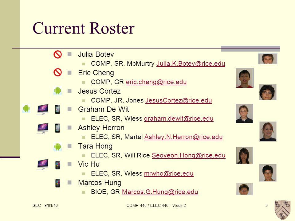 Current Roster Julia Botev COMP, SR, McMurtry Julia.K.Botev@rice.eduJulia.K.Botev@rice.edu Eric Cheng COMP, GR eric.cheng@rice.edueric.cheng@rice.edu