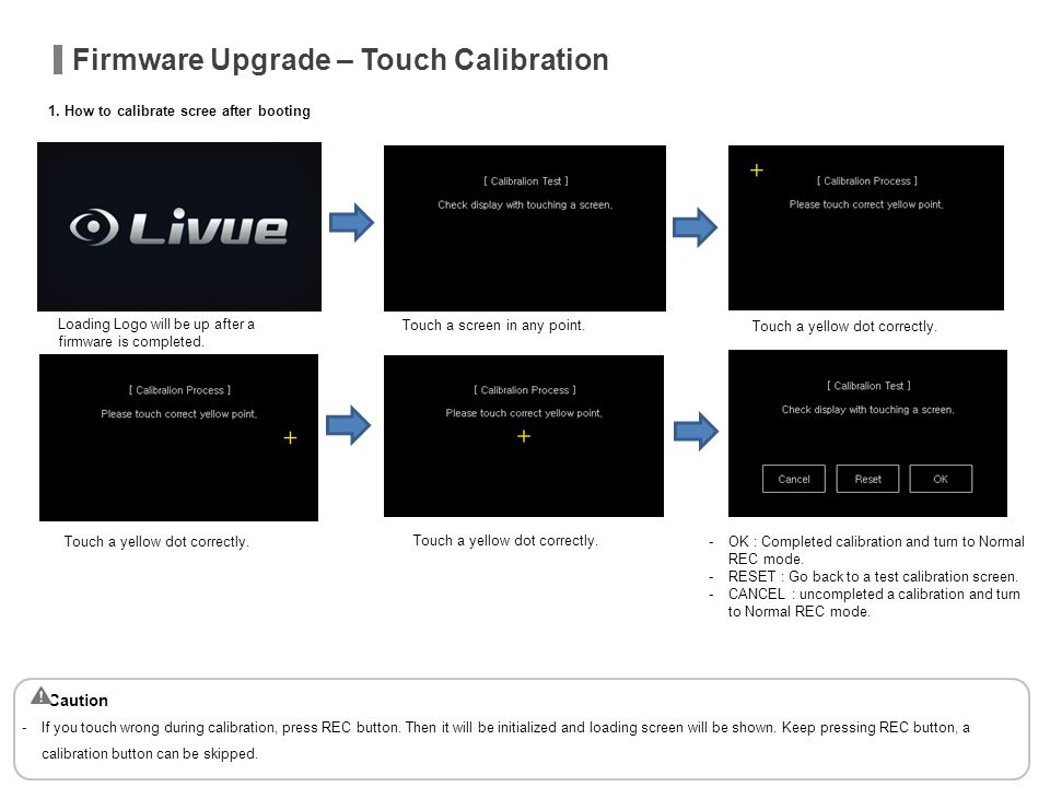 Firmware Upgrade – Touch Calibration 1. How to calibrate scree after booting Loading Logo will be up after a firmware is completed. Touch a screen in
