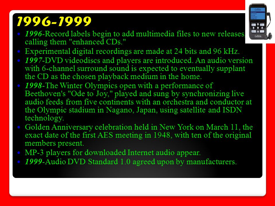 1996-1999 1996-Record labels begin to add multimedia files to new releases, calling them