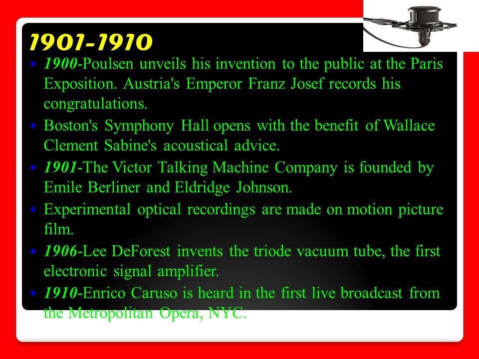 1901-1910 1900-Poulsen unveils his invention to the public at the Paris Exposition.