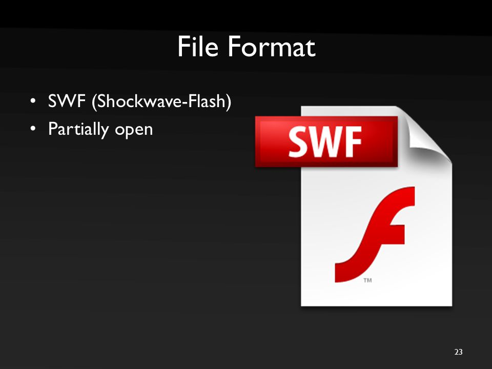 File Format SWF (Shockwave-Flash) Partially open 23