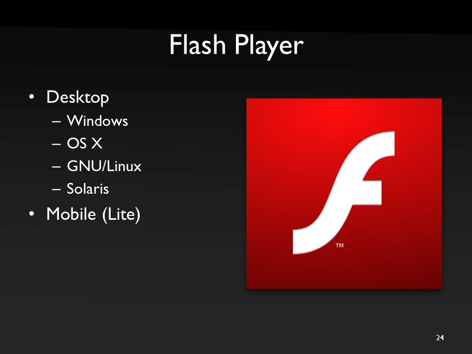 Flash Player Desktop – Windows – OS X – GNU/Linux – Solaris Mobile (Lite) 24
