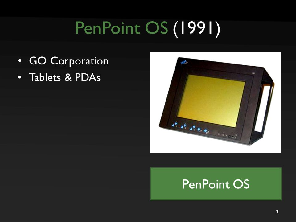 PenPoint OS (1991) GO Corporation Tablets & PDAs PenPoint OS 3