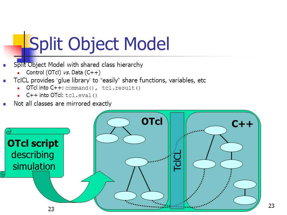 "Split Object Model Split Object Model with shared class hierarchy Control (OTcl) vs. Data (C++) TclCL provides ' glue library ' to "" easily "" share fu"
