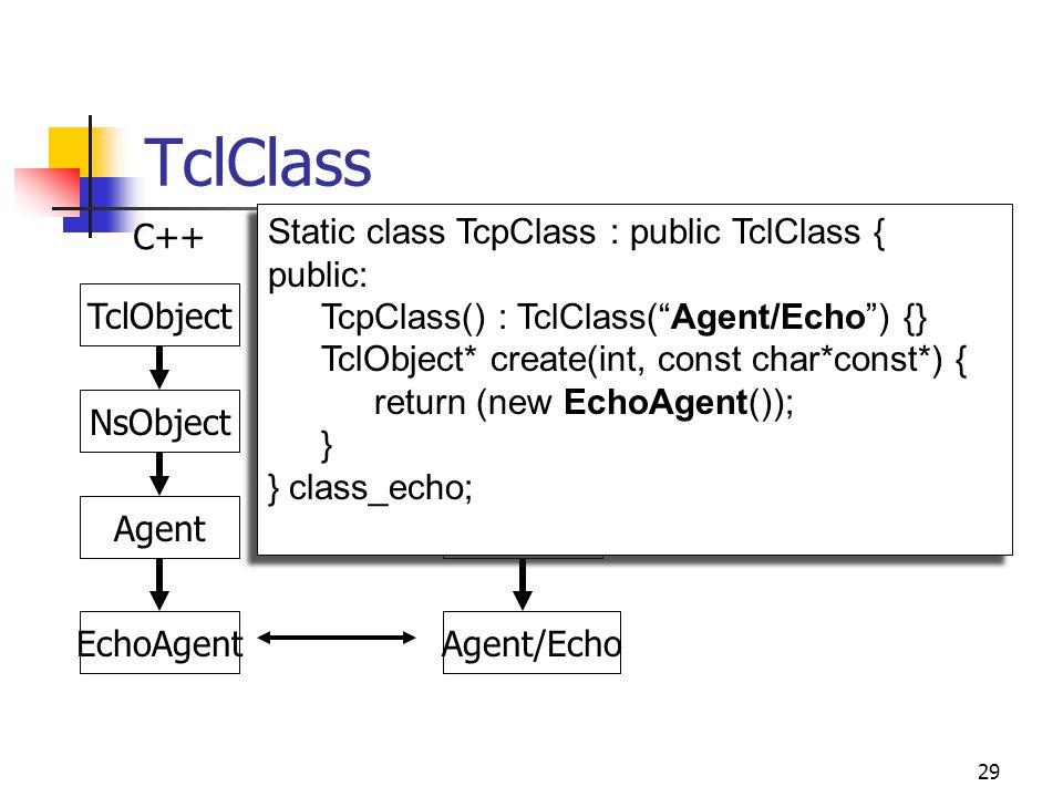 29 TclClass TclObject Agent Agent/Echo TclObject Agent EchoAgent NsObject .
