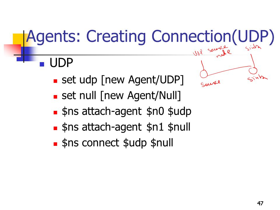 47 Agents: Creating Connection(UDP) UDP set udp [new Agent/UDP] set null [new Agent/Null] $ns attach-agent $n0 $udp $ns attach-agent $n1 $null $ns con