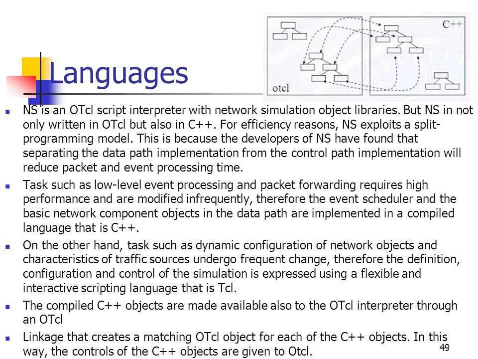 Languages NS is an OTcl script interpreter with network simulation object libraries. But NS in not only written in OTcl but also in C++. For efficienc