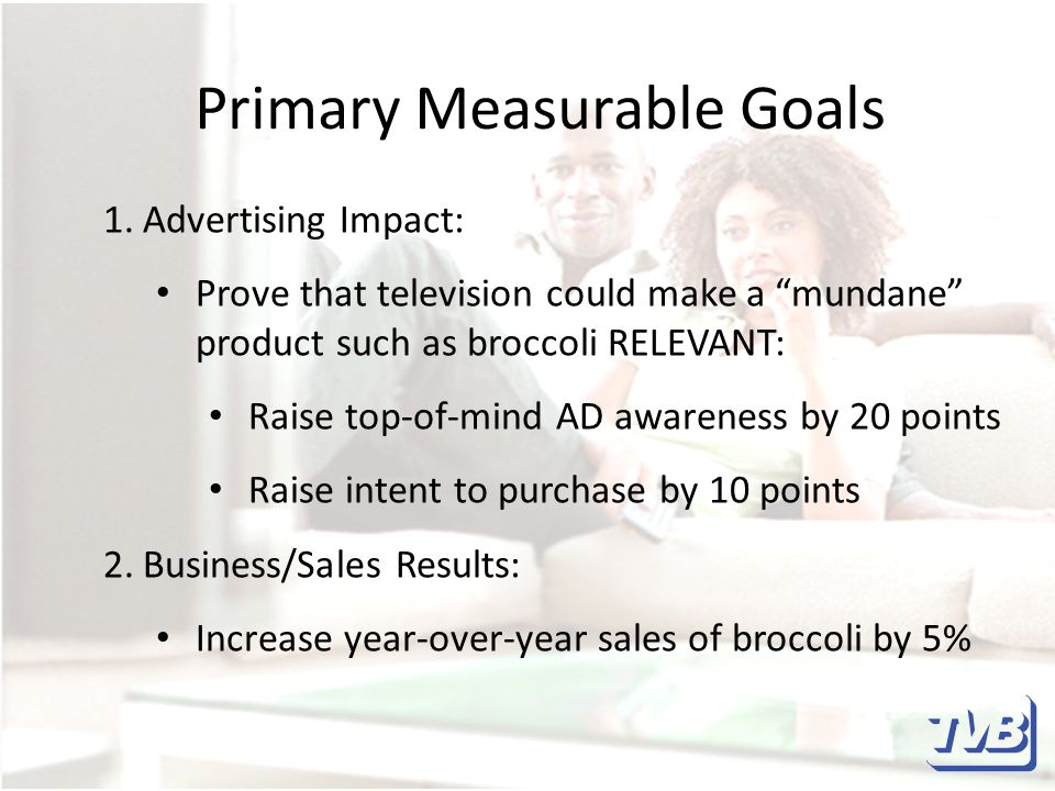 Primary Measurable Goals 1.Advertising Impact: Prove that television could make a mundane product such as broccoli RELEVANT: Raise top-of-mind AD awareness by 20 points Raise intent to purchase by 10 points 2.Business/Sales Results: Increase year-over-year sales of broccoli by 5%