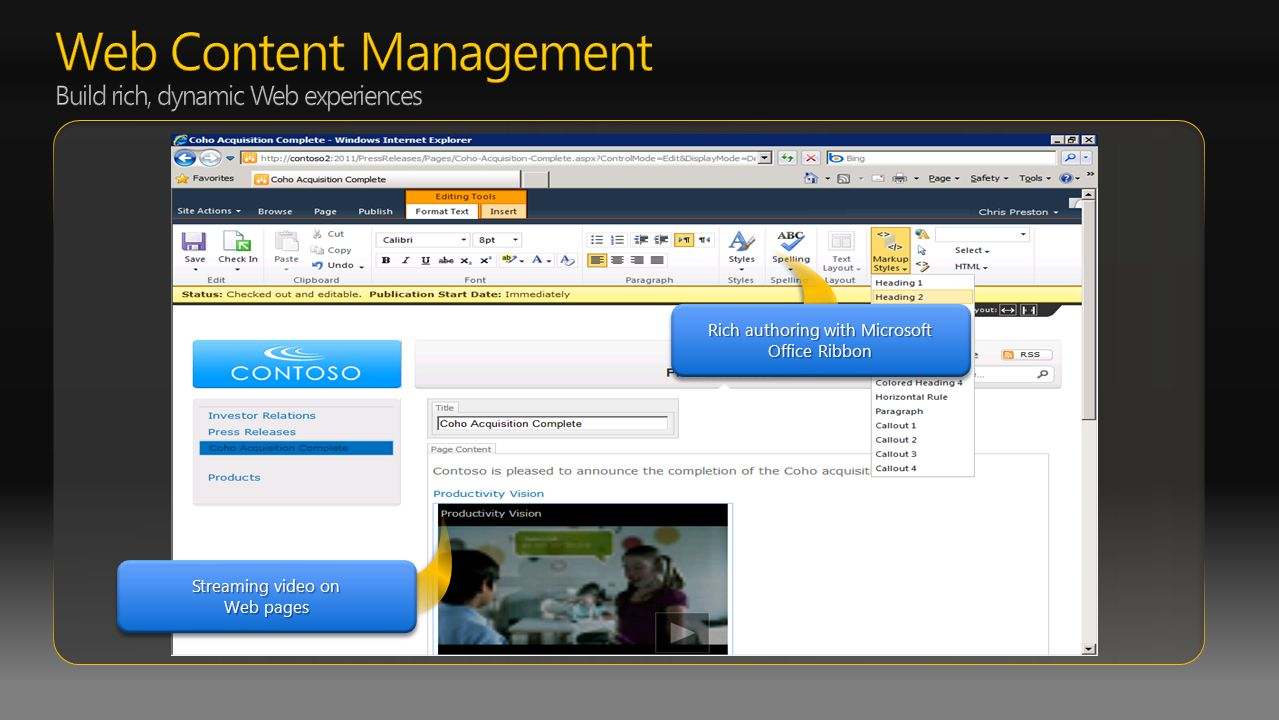 Rich authoring with Microsoft Office Ribbon Streaming video on Web pages