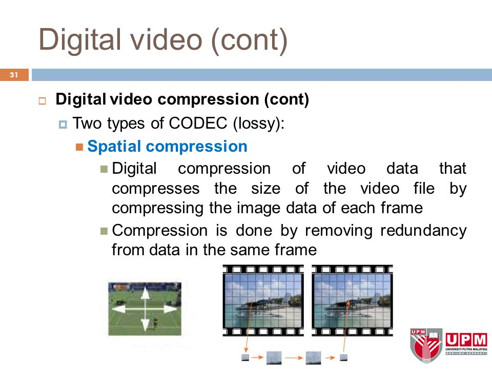 Digital video (cont) 31  Digital video compression (cont)  Two types of CODEC (lossy): Spatial compression Digital compression of video data that co