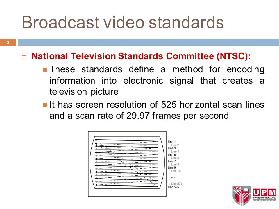 Broadcast video standards 8  National Television Standards Committee (NTSC): These standards define a method for encoding information into electronic
