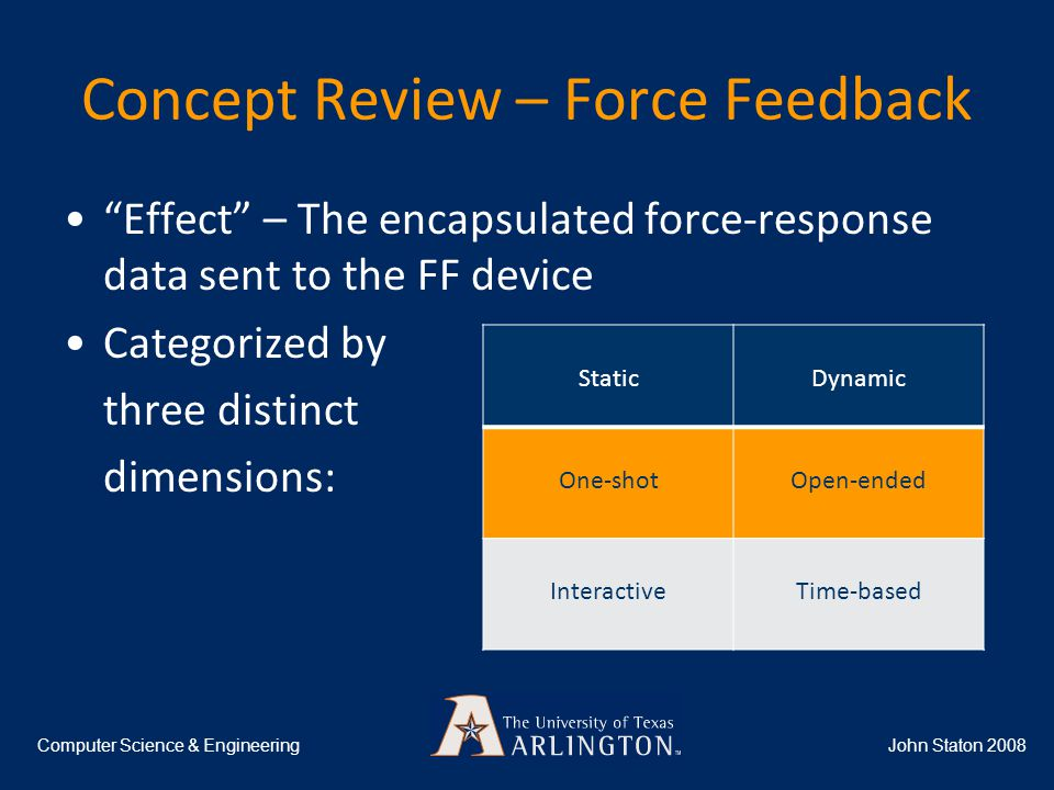 Concept Review – Force Feedback John Staton 2008Computer Science & Engineering Effect – The encapsulated force-response data sent to the FF device Categorized by three distinct dimensions: StaticDynamic One-shotOpen-ended InteractiveTime-based
