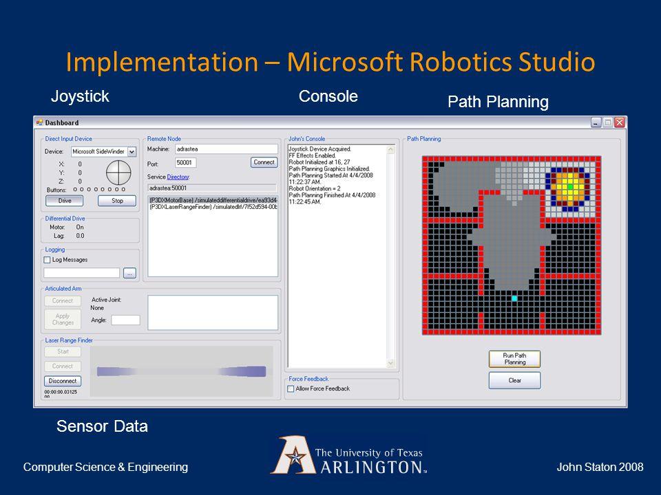 Implementation – Microsoft Robotics Studio John Staton 2008Computer Science & Engineering Joystick Path Planning Console Sensor Data
