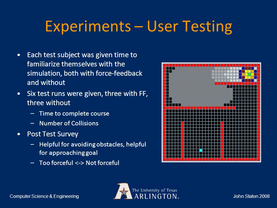 Experiments – User Testing Each test subject was given time to familiarize themselves with the simulation, both with force-feedback and without Six test runs were given, three with FF, three without –Time to complete course –Number of Collisions Post Test Survey –Helpful for avoiding obstacles, helpful for approaching goal –Too forceful Not forceful John Staton 2008Computer Science & Engineering