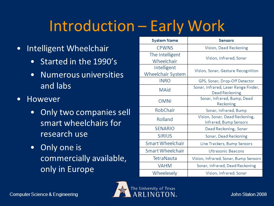 Introduction – Early Work System NameSensors CPWNS Vision, Dead Reckoning The Intelligent Wheelchair Vision, Infrared, Sonar Intelligent Wheelchair System Vision, Sonar, Gesture Recognition INRO GPS, Sonar, Drop-Off Detector MAid Sonar, Infrared, Laser Range Finder, Dead Reckoning OMNI Sonar, Infrared, Bump, Dead Reckoning RobChair Sonar, Infrared, Bump Rolland Vision, Sonar, Dead Reckoning, Infrared, Bump Sensors SENARIO Dead Reckoning, Sonar SIRIUS Sonar, Dead Reckoning Smart Wheelchair Line Trackers, Bump Sensors Smart Wheelchair Ultrasonic Beacons TetraNauta Vision, Infrared, Sonar, Bump Sensors VAHM Sonar, Infrared, Dead Reckoning Wheelesely Vision, Infrared, Sonar John Staton 2008Computer Science & Engineering Intelligent Wheelchair Started in the 1990's Numerous universities and labs However Only two companies sell smart wheelchairs for research use Only one is commercially available, only in Europe