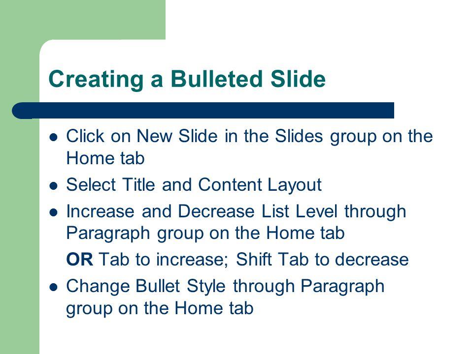 Creating a Title Slide Title Slide Layout (default) – Presentation Title – Presentation Subtitle