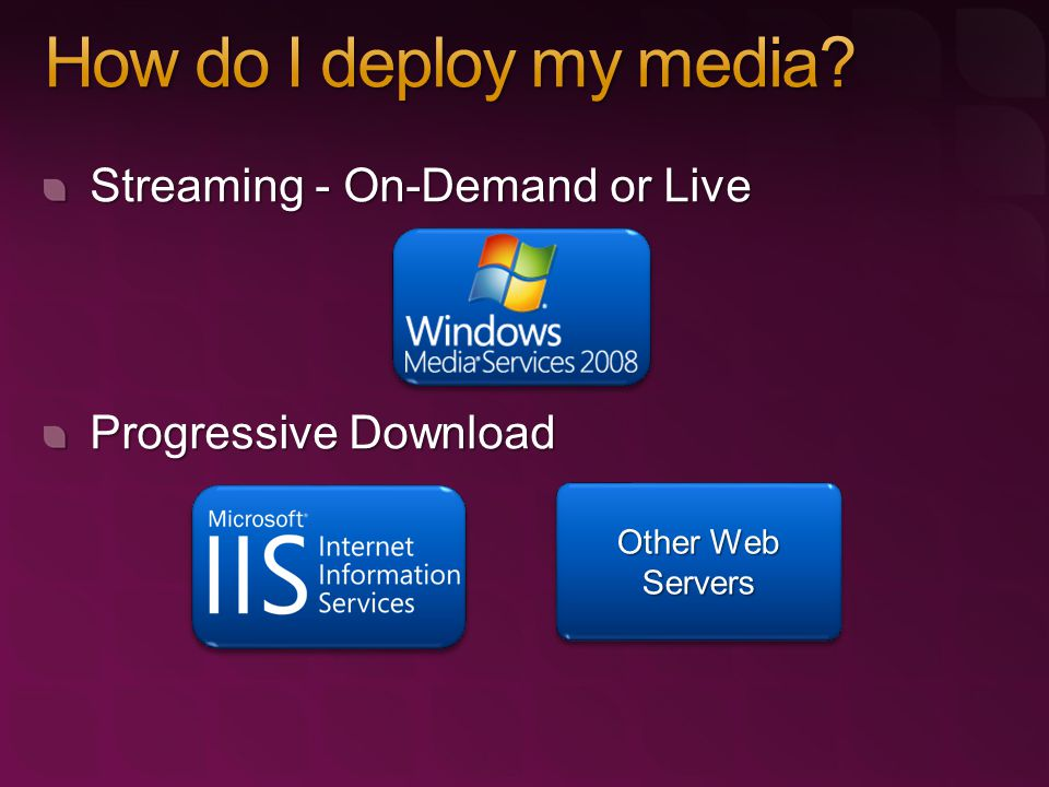 Streaming - On-Demand or Live Progressive Download Other Web Servers